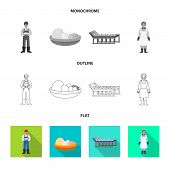 Vector Design Of Countryside And Plant Symbol. Set Of Countryside And Farming Stock Symbol For Web. poster