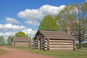 stock photo of revolutionary war  - Reproductions of cabins used by Revolutionary War soldiers during the winter of 1777 - JPG