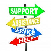 Many colorful arrow signs point to a solution to your problem, offering support, assistance, service