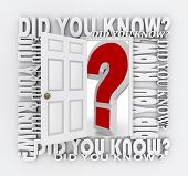 The words Did You Know surround a door unlocking and opening to reveal a giant red question mark rep