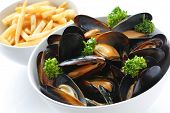 image of boil  - steamed mussels with white wine - JPG