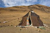 stock photo of nomads  - Nomad tent made of yak wool mobile home of nomad people - JPG