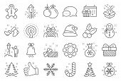 Christmas, New Year Line Icons. Santa Hat, Gingerbread Man And Gift Box Icons. Fireworks, Snowflake  poster