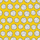 Yellow Seamless Pattern With Volleyballs. Volleyballs Seamless Pattern poster