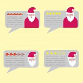 Feedback Chat Speech Bubble With Santa Claus Avatar. Review Quality System Five Stars Rating With Go poster
