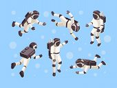 Astronaut Isometric. Cosmo Space Futuristic Human In Special Clothes Vector Astronaut In Different P poster