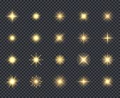 Glowing Stars Icon. Celebration Effects Beautiful Sparks Lighting Rays Vector Realistic Icons Collec poster