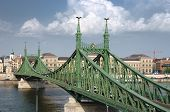 the Liberty Bridge (sometimes Freedom Bridge) in style Art Nouveau connects Buda and Pest across the