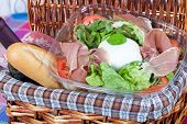 pic of nic  - Delicious italian salad with mozzarella bufala and ham - JPG