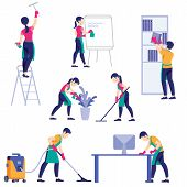 Set Of Cleaning Company Staff Different Poses. A Man With A Vacuum Cleaner. Woman With Buckets And M poster