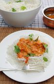 A homemade tomato curry, thickened with coconut and garnished with coriander and curry leaves, serve