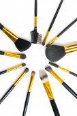 Make-up Brushes set over white background. Various Professional makeup brush on white in studio. Mak poster