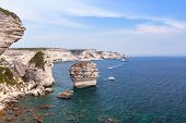 Coastal Rocks Of Bonifacio. Coastal Landscape Of Corsica Island At Summer Day, France poster