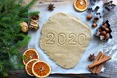 Text 2020. Concept Of The New Year 2020. Christmas Pastries. Homemade Cakes Or Cookies For The New Y poster