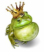 stock photo of throat  - Frog prince with gold crown and an inflated throat representing the fairy tale concept of communication  - JPG