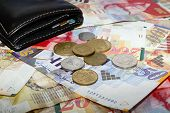 stock photo of shekel  - Wallet coins and bills 50 100 200 shekel