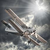image of biplane  - Retro style picture of the biplane - JPG