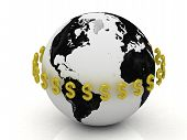 Dollar Signs In Gold Encircle The Planet