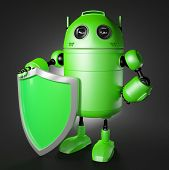 stock photo of cybernetics  - Android guard with shield - JPG