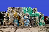 Plastic waste on a recycling site