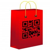 Red shopping bar with qr code