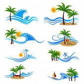 illustration of set of sunset at sea view icon with palm tree