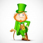 pic of leprechaun hat  - illustration of Leprechaun with walking stick for Saint Patrick - JPG