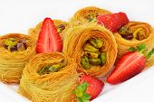 Baklava With Pistachio Nuts And Strawberry