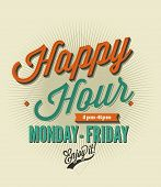 Happy Hour card -set of various design elements typography, banner, ribbon, icon for happy hour layo