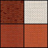 Set of Seamless Patterns of Brick Walls. Old Grunge Wall, White Brick Wall and Classic Orange Brick