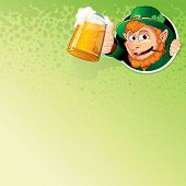 Cartoon Leprechaun with Mug of Ale. Illustrated Vector Background with Free Space for Your Text and Design.