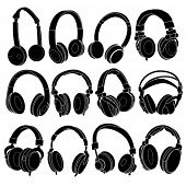 Headphone Silhouettes Set in vectors