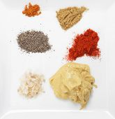 A plate with Clockwise from top left, red chilli powder, cumin, paprika, dijon mustard, Maldon sea s