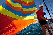 SARONIC GULF, GREECE - SEPTEMBER 25: Unidentified sailor participate in sailing regatta