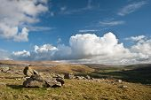 stock photo of errat  - View from atop Norber Erratics looking towards Wharfe Dale in Yorkshire Dales National Park - JPG