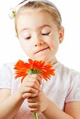 Funny Little Girl With Flower