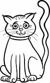 Female Cat Cartoon For Coloring Book