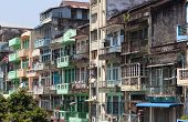 Colourful blocks of units. Yangon. Myanmar.
