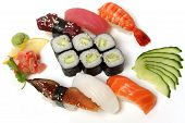 Sushi Set - Different Types Of Maki Sushi And Nigiri Sushi.  Sushi Set - Different Types Of Maki Sus