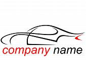 Logo of a aerodynamic sports car