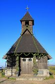 stock photo of velika  - Wooden alpine chapel of Our Lady of the Snows  - JPG