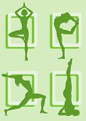 Four silhouettes of girls practicing yoga
