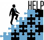 Business man climbing problem puzzle to find help solution