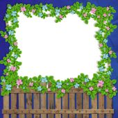 Wooden Fence On The Abstract Background With Floral Garland
