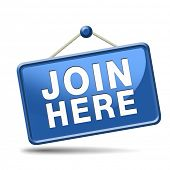 picture of joining  - Join us here and now banner or registration for membership icon or sign - JPG