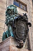 pic of munich residence  - Bavarian lion statue at Munich Alte Residenz palace in Odeonplatz - JPG