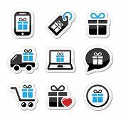 Present, shopping vector icons set