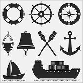 stock photo of fishing bobber  - Silhouettes of nautical objects - JPG