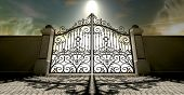 image of heavens gate  - A set of closed ornate gates to heaven under an ethereal light and cloudy afterlife - JPG