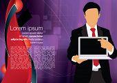 Businessman with laptop. Editable vector